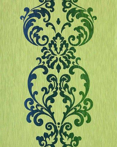 Barock Tapete Vintage EDEM 178-25 Tapete Modern Art Ornamente kiwi-grün olive blau perlmutt - Versailles Olive