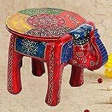 #8: Home Decor|Marble Handicrafts|Meenakari Work|Decorative Gift item|Showpiece|Wedding Gift Item | Home Decor Item |Rajasthani Wooden Elephant Stool Handicraft Gift 448