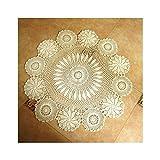 Aspire 71,1cm 81,3cm 91,4cm 1handgefertigt runde Blume Crochet Baumwolle Spitze Tisch Platzdeckchen Sofa zierdecken Wert, baumwolle, weiß, 71 cm