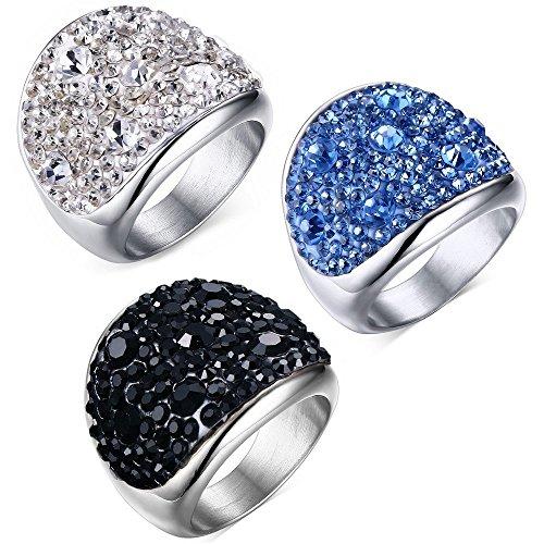 BOBIJOO Jewelry - Bague Femme Cristal Acier Inoxydable 3 Couleurs au Choix - 68 (12 US), Transparent Transparent