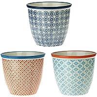 Nicola Spring Patterned Porcelain Plant Flower Pot, for Indoors & Outdoors - 3 Individual Designs - Set of 3