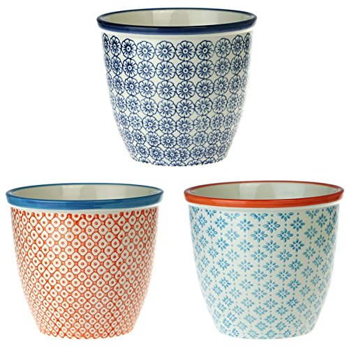 Nicola Spring Patterned Plant Pot Porcelain Indoor/Outdoor Flower Pot - 3 Individual Designs - Set of 3