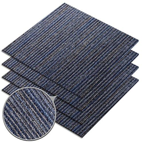 Preisvergleich Produktbild Teppichfliesen Linea | auch für den gewerblichen Bereich | elegante Alternative zu Nadelfilz Bodenbelag | selbstliegend ohne Kleben | Royal Blau | 4er Set (1qm)