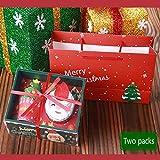 Vaxiuja Confezione Regalo di Natale, Pacchetto Compreso Babbo Natale + Albero di Natale 2 Asciugamani con scatole Regalo Decorazione Natalizia (Asciugamano in Cotone)