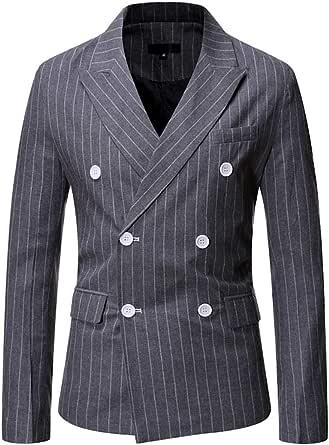 Mens Classic Fitted Double Breasted Blazer Buttons Vintage Jacket Elegant Stripe Wedding Blazers Men's Business Blazer Jacket Office Gentleman Blazers