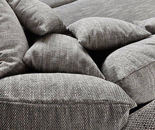 Sofa Clovis erweiterbares Modulsofa Eckcouch Wohnlandschaft (Sofa mit Hocker, Grau) - 5