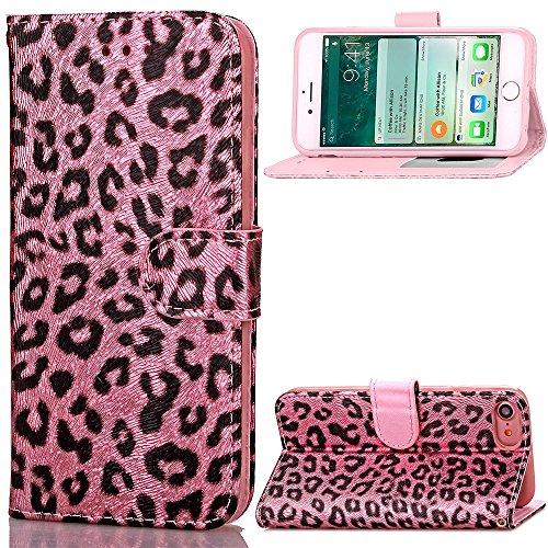iPhone Case Cover Cas de l'iPhone 7, Case pretective motif léopard Impression couleur peinture Case PU cuir avec fonction Stand Wallet pour Apple iPhone7 4,7 pouces ( Color : 2 , Size : Iphone 7 ) 3