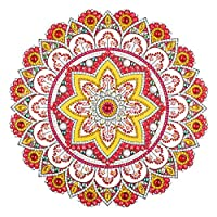 Prosperveil DIY 5D Diamond Painting Mandala Flower Kits Special Shaped Crystal Rhinestone Embroidery Diamond Art Craft Wall Pictures Living Room Bedroom Home Decor (Red and Gold)