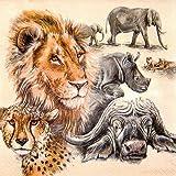 20 Servietten 33x33 cm Big Five Afrika Safari Tiere Löwe Elefant Tiger Bison Nashorn Gepard Leopard
