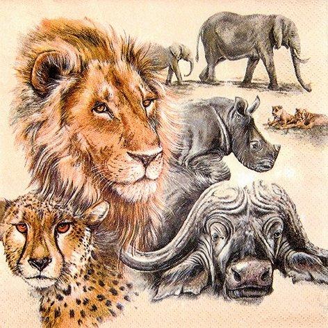 20tovaglioli 33x 33cm Big five Africa Safari animali Leone Elefante Tiger Bison rinoceronte ghepardo Leopard