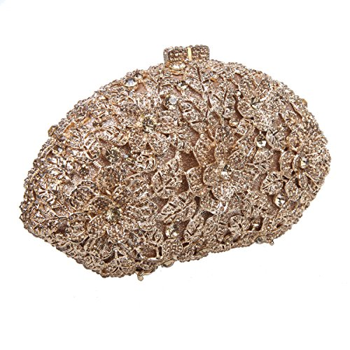 Bonjanvye Glitter Flower Ladies Hand Bags Evening Party Purses for Girl's Evening Bags Smoky Yellow smoky yellow