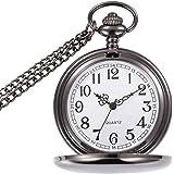BestFire - Orologio da tasca liscio stile vintage, classico al quarzo, con catena corta, per uomo o donna,ideale come regalo