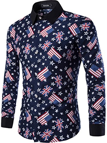 Jeansian Chemise Homme Slim Fashion Chemises Casual Manches Longues Men Pattern Printing Casual Shirt Tops 84D5 Navy