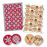 SET 4 x 24 Weihnachtsaufkleber rot weiß schwarz FROHE WEIHNACHTEN + SCHNEEFLOCKE Aufkleber Geschenkaufkleber Verpackung 4 cm Weihnachtsgeschenke retro vintage Sticker Geschenkverpackung Deko