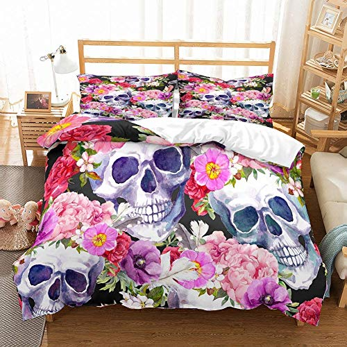 Soefipok Schädel Bettwäsche Set Rosa/Rot/Lila Blumen Tagesdecke Schwarz Bedruckter Schädel Bettbezug Set für Erwachsene, Jungen und Mädchen, 3-teilig mit 2 Kissenbezügen