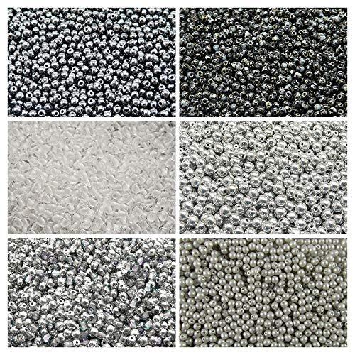 600 stk 6 Farben Tschechische Gepresste Glasperlen Rund 3 mm, Set RP 315 (3RP008 3RP012 3RP013 3RP021 3RP022 3RP031) - Silber Alabaster, Glas