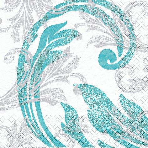 20 Servietten Classy Ornaments turquoise – Klassische Ornamente türkis / Muster / zur Kommunion / Konfirmation 33x33cm