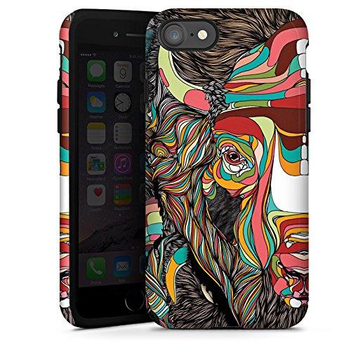 Apple iPhone X Silikon Hülle Case Schutzhülle Bison Muster Farben Tough Case glänzend