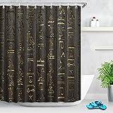 Tallas jeroglíficas en el antiguo templo egipcio,Cortina de ducha resistente al agua y anti moho con ganchos,180*200