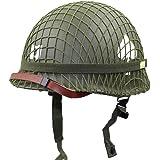 XYLUCKY WW2 US Army M1 Green Helmet Replica con Net/Canvas Chin Strap Pintura DIY