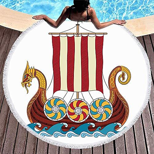 Drollpoe Toallas de Playa Redondas Borlas Barco Azul Vikingo Drakkar Barco Navegando en Olas Vintage Pasado Mástil Rojo Bárbaro de Colores Corsair Crow