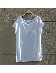 RYCJ-El Cortocircuito Artificial Simple Del Algodón Del Verano Europeo Envolvió El Vestido Delgado De La Camiseta Floja S Blanco