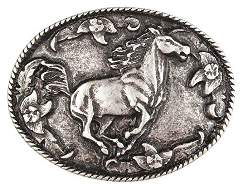 Gürtelschnalle mit Relief - Rennendes Pferd - Wechselschliesse in edlem Design als besonderes Geschenk