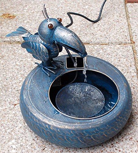 Metallbrunnen Vogel mit Pumpe