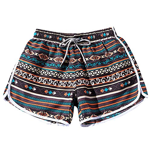 TIREOW Sommer Frauen Paare Strand Floral Bohe Badeshorts Trunks Nickel Pants