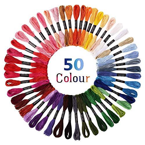 Stickgarn Embroidery Threads Nähgarne Stickerei Basteln Crafts Floss Set 50 Docken Sticktwist 8m 6-fädig Bunt Multicolor für Kreuzstich Basteln Freundschaftsbänder -
