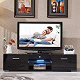 SUNCOO Black 160cm LED TV Stand Modern High Gloss TV Cabinet Unit Stand with FREE LED RGB Living Room Furniture