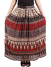 768f4e0d04 FEMEZONE Skirt Women's Cotton Regular Fit Rayon and Crepe Skirt (RED  &BEIGE, ...
