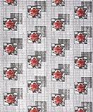 Badvorleger, Aquamat Antirutsch Matte, Bodenbelag, Bad Garten Küche, 250x65 cm, Länge wählbar, Blühte Grau/Rot