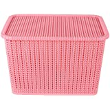 Premium Quality Big size plastic Rectangular Tapered hollow basket mesh fashion Storage box / organizer / bin / Basket for Kitchen, Utility, Living room, kids room, Bedroom or Bathroom or office basket storage with Lid (Multicolor, Color sent at random)