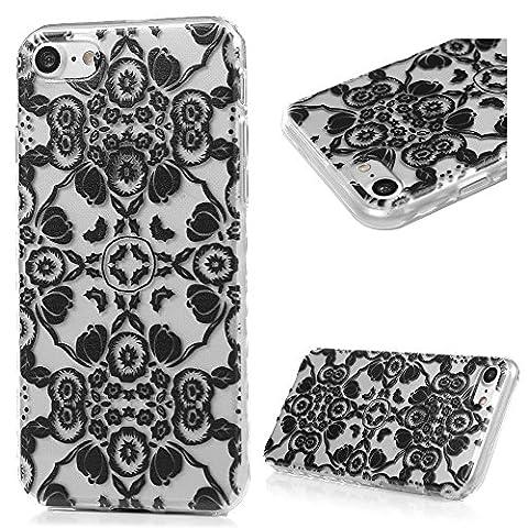 iPhone 7 Hülle Kasos iPhone 7 TPU Silikon Case Schutzhülle Ultra Dünn Painted Transparent Handy Cover Wellenförmige Border Handytasche mit Schwarz winde Design