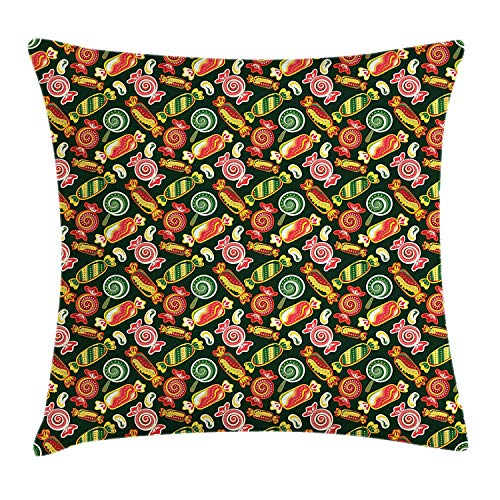 MLNHY Dessert Throw Pillow Cushion Cover, Hand Drawn Colorful Candy Pattern Swirls and Dots Design on Green Toned Backdrop, Decorative Square Accent Pillow Case, 18 X 18 Inches, Multicolor
