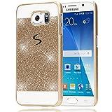 NALIA Handyhülle für Samsung Galaxy S6, Glitzer Slim Hard-Case Hülle Back-Cover Schutzhülle, Bumper Handy-Tasche im Glitter Design, Dünnes Bling Strass Etui Skin für Samsung-S6 Smart-Phone - Gold