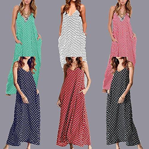 Romacci Frauen-Kleid-Polka-Punkt-Druck mit V-Ausschnitt ärmel lose Maxi langes Kleid Lässige Vintage-One-Piece Rot
