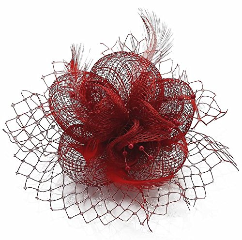 LeahWard Qualität Herrlich Feather and Mesh Blumendruck Fascinator On Clip Racing Festival Party CWH00131 Rot