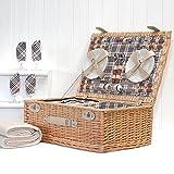 Grosvenor cestino da picnic per 4persone con accessori e coperta in pile crema–idea regalo per Natale, compleanno, matrimonio, anniversario e Corporate