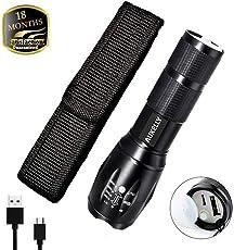 Aukelly LED Taschenlampe militärische taktische Taschenlampen USB wiederaufladbar direkt mit 3 Modi Zoomable mit eingebauter Batterie Perfekt für Radfahren Camping Bergsteigen
