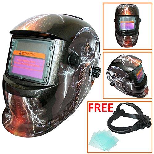 Preisvergleich Produktbild Leopard LEO-WH27 Solarbetriebene + Automatische Verdunkelung + Schleiffunktion + 9-13 Schatten Schweißhelm Maske mit 5 Kostenlosen Ersatzlinsen / 3 Aufhellung
