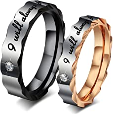 Peora I Will Always Be with You Stainless Steel Black Rings for Girls and Boys