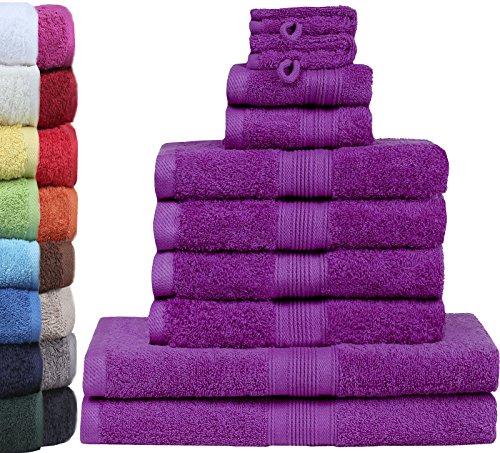 Lila Set (GREEN MARK Textilien 10 TLG. FROTTIER Handtuch-Set mit Verschiedenen Größen 4X Handtücher, 2X Duschtücher, 2X Gästetücher, 2X Waschhandschuhe | Farbe: Lila | Premium Qualität)