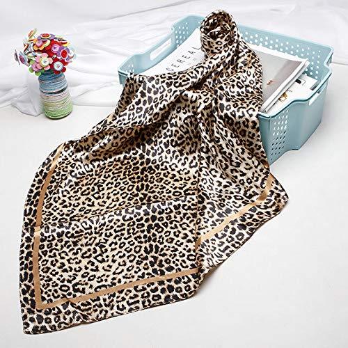 GLMDSJ Luxury Brand Leopard Schal Für Frauen Satin Seidenschals Weibliche 90 cm x 90 cm Fashion Square Schal Kopftücher Für Damen Wraps One Size 05
