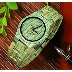 GBlife BEWELL Wooden Men Watch 100% Handmade Natural Colorful Bamboo Wooden Life Water Resistant Quartz Analog
