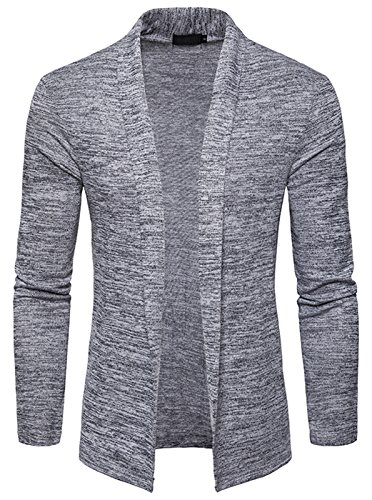 WHATLEES Unisex Lang Geschnittene Schlichte Strickjacke Cardigan in melierte Optik B939-LightGray-M