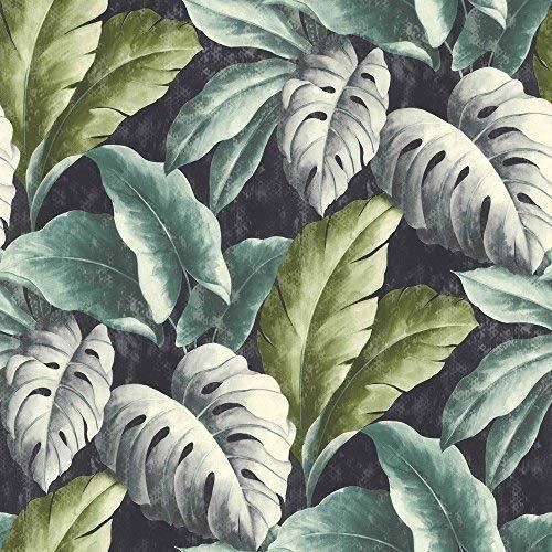 Blätter Blau-tapeten (Grandeco Botanisch Tropische Blätter Muster Tapete Baum Blatt Texturiert Motiv - Blau BA2404)