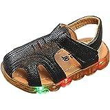 ELECTRI Summer Kid Boys a mené des Sandales extérieures Lumineuses en Cuir Souple antidérapantes Shoes Outdoor Chaussures de Plage Doux Baotou Bas Sandales