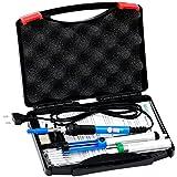SOAIY® 6-in-1 Lötset 60W Lötkolben Temperatur 200-450°C regelbar inkl. Koffer, 5er-Set Lötspitzen, Entlötpumpe, Lötzinn, Ständer mit Schwamm